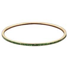 18K Gold and Green Tsavorite Garnet Bangle Bracelet