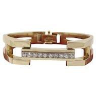 Heavy 1970s La Triomphe 1.75 Carat Diamond and 14K Gold Bangle Bracelet