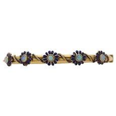 Victorian 14K Gold Opal and Enamel Daisy Bangle Bracelet