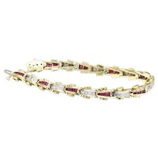 Retro Style Ruby and Diamond Tank Track Line 14K Gold Line Bracelet