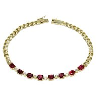 Vibrant 3.2 Carats Ruby Alternating with Diamond 18K Gold Line Bracelet