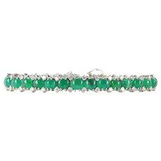 Vibrant 28 Carat Cabochon Emerald and 2.3 Carat Diamond 14K Gold Bracelet