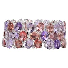 Festive Pink Tourmaline, Morganite, Amethyst, White Sapphire 18K Gold Wide Bracelet