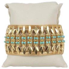 Midcentury Victorian Revival 18K Gold Heavy Turquoise Statement Bracelet
