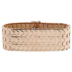 Retro Era Honeycomb Patterned 14K Rose Gold Wide Heavy Bracelet