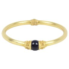Vintage 18K Gold and Sodalite Etruscan Revival Greek Style Bangle Bracelet