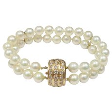 Diamond and 18K Gold Clasp Double Strand Akoya Pearl Bracelet