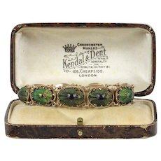 "Victorian Egyptian Revival Real ""Scarab"" Beetle English 9K Gold Bracelet"