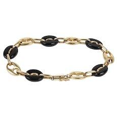 Vintage Onyx and 14K Gold Gucci Link Bracelet