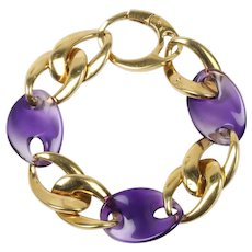 Vintage Carved Amethyst and 18K Gold Link Wide Statement Bracelet