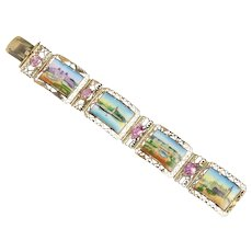 Midcentury Enameled Panel Cityscapes Scenery 14K Gold Pink Topaz Bracelet