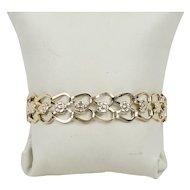 Vintage 14K Gold Open Link Flower Motif Charm Style Bracelet