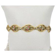 French Art Nouveau 18K Gold Enamel and Diamond Floral Motif Bracelet