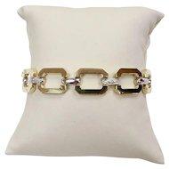 Open Link 14K Gold and Diamond Rectangular Panel Bracelet