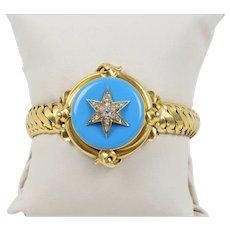Victorian 22K Gold and Diamond Turquoise Enamel Star Snake Motif Locket Antique Bracelet