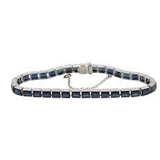 Platinum 7.7 Carat Natural Sapphire Straight Line Bracelet