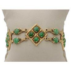 Vintage Green Jadeite Jade and 14K Gold Link Bohemian Boho Bracelet