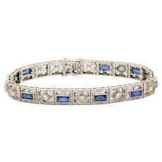 Art Deco 14K Gold Diamond and Sapphire Filigree Line Bracelet