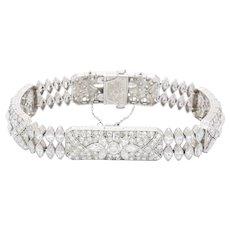 Art Deco S. Kind & Sons Platinum and 11 Carat Diamond Lotus Bracelet