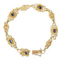 French Art Nouveau 18K Gold, Cabochon Sapphire Garland Wreath Bracelet