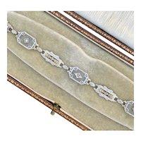 Art Deco 14K Tricolor Gold, Diamond and Camphor Glass Bracelet