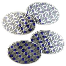 Longmire 18K White Gold Blue and Gray Enamel Men's Cufflinks