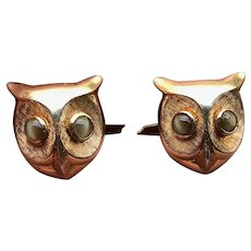 Vintage 14K Gold and Cats Eye Owl Cufflinks
