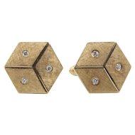 Vintage 14K Gold and Diamond Dice Gamblers Good Luck Cufflinks