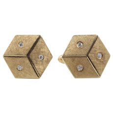 Vintage 14K Gold and Diamond Dice Gamblers Good Luck Cufflinks