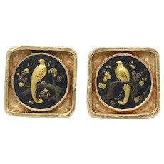 Vintage Shakudo Heavy 14K Gold Bird Cufflinks