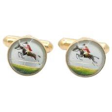 Victorian 14K Gold Essex Crystal Horse and Jockey Equestrian Cufflinks