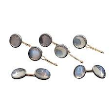 Art Nouveau Krementz Moonstone 14K Gold and Platinum Cufflinks Button Studs Set