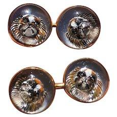 Late Victorian Essex Crystal Reverse Crystal Intaglio 14K Gold Dog Cufflinks