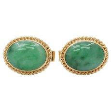 Vintage 14K Gold and Green Jadeite Jade Cufflinks
