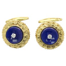 Vintage La Triomphe 18K Gold Diamond and Lapis Lazuli Cufflinks