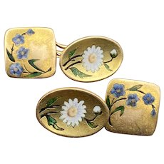 Art Nouveau 14K Gold Enamel Daisy and Forget Me Not Flower Cufflinks