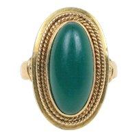 Vintage Green Hardstone and 14K Gold Oblong Shaped Ring