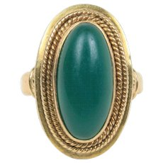 Vintage Green Hardstone and 14K Gold Oblong Shaped Ring