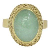 Estate Light Green Jadeite Jade 18K Gold Basketweave Vintage Dome Ring