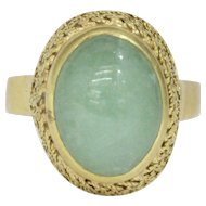 Estate Light Green Jadeite Jade 18K Gold Basketweave Vintage Dome Ring