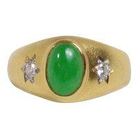 Vintage Jadeite Jade and Diamond 20K Gold Gypsy Style Ring