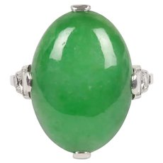 "Art Deco GIA Certified ""A"" Jadeite Jade Platinum and Diamond Ring"