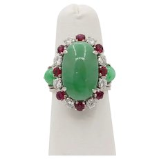 "Vintage GIA ""A"" Jadeite Jade Diamond and Ruby 14K Gold Cocktail Ring"