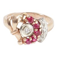 Retro 14K Rose Gold and Diamond Synthetic Ruby Vintage Ring