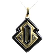 Vintage David Webb Black Enamel and 18K Gold Heavy Pendant Necklace