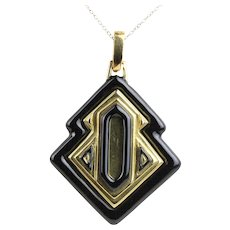 Vintage David Webb Black Enamel and 18K Gold Heavy Pendant Necklace