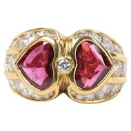 GIA Bvlgari 2.74 Carat Natural Ruby and 3 Carat Diamond 18K Gold Ring