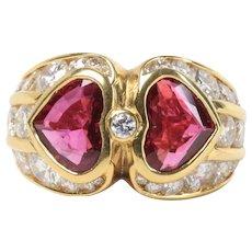 GIA Bvlgari 2.74 Carat Natural Ruby and 3 Carat Diamond 18K Gold Ring