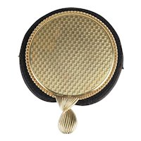 Vintage Cartier 14K Yellow Gold Cosmetic Hand Mirror