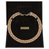 Roberto Coin Barocco 18K Rose Gold and Diamond Woven Choker Necklace